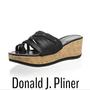Donald J. Pliner Black Strappy Cork Wedge Sandals